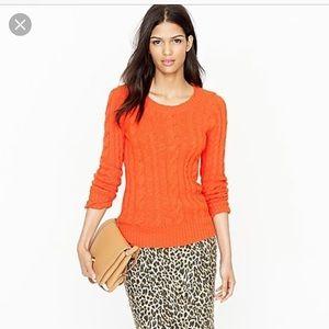 J.Crew factory shrunken fisherman sweater orange s
